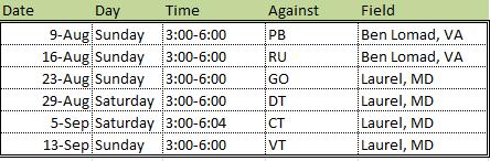 Herndon Bengals Schedule